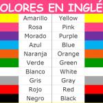 Una ilustracion sobre los colores en ingles para niños y en espaniol para su traduccion correcta