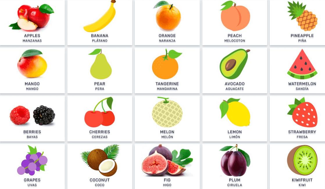 frutas en ingles para colorear