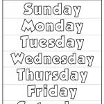 letras de los días de la semana en ingles para niños y para imprimir