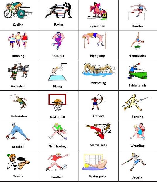 como se escriben los deportes en inglés