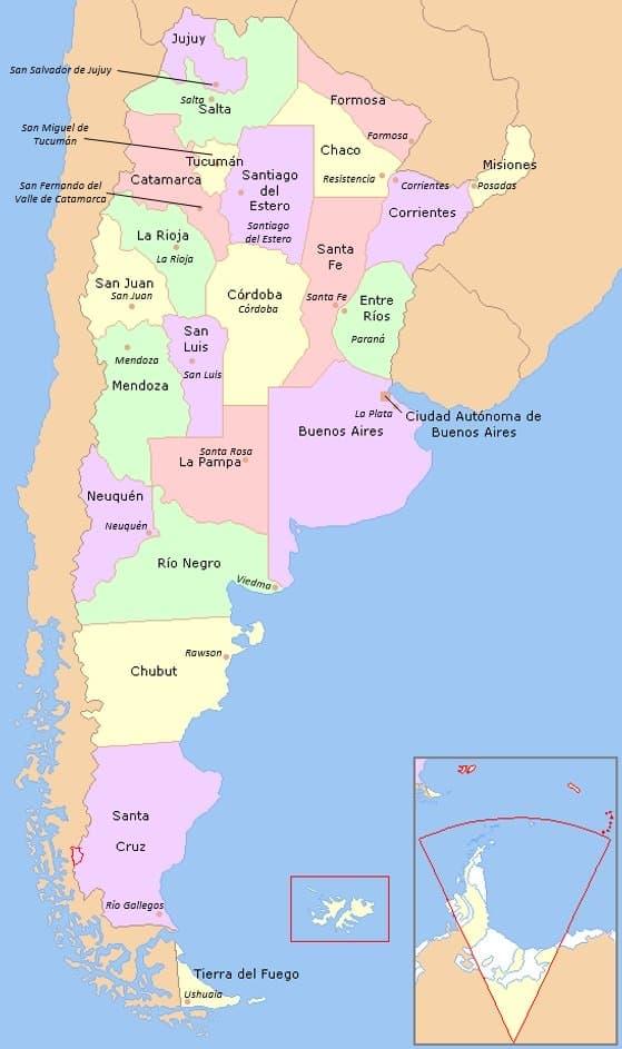 mapa de argentina provincias y capitales