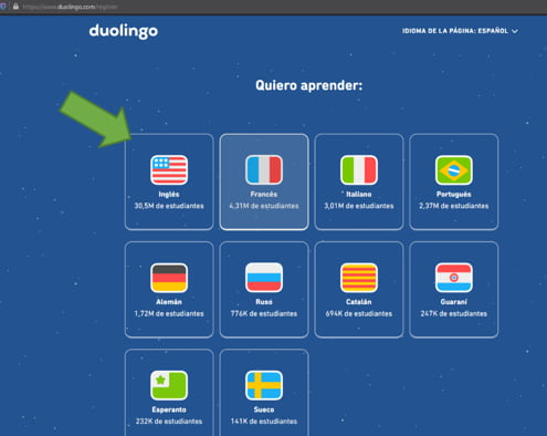seleccionar idioma duolingo