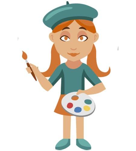 imagen de mujer artista en ingles