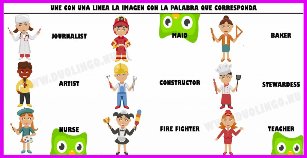 profesiones en inglés para niños para imprimir